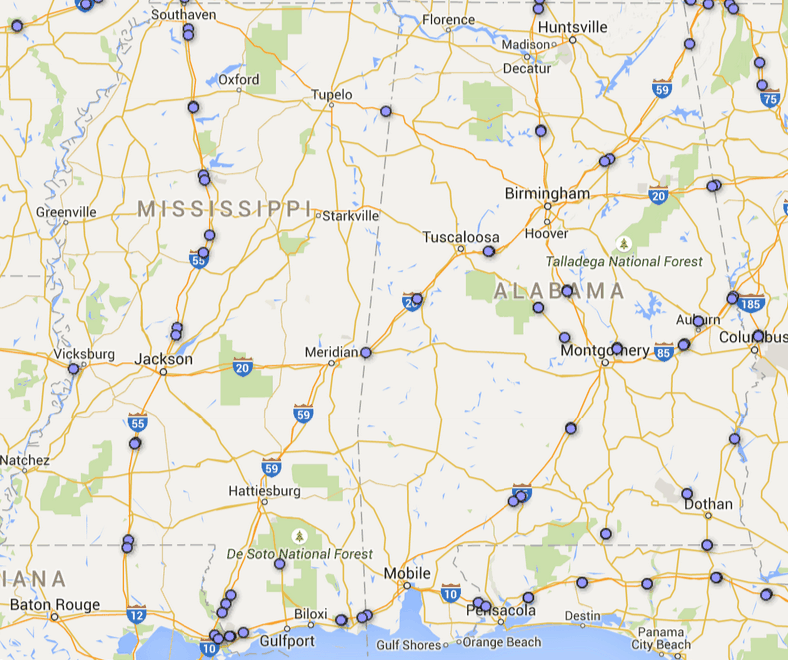 mississippi rest area map